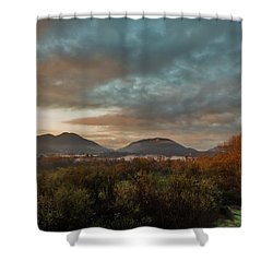 Misty Morning Over The San Diego River Shower Curtain