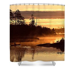Shower Curtain featuring the photograph Misty Morning Paddle by Larry Ricker