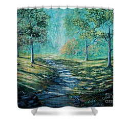 Misty Morning Path Shower Curtain