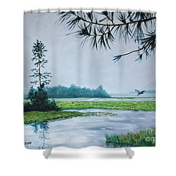 Misty Morning Shower Curtain by Stanton Allaben