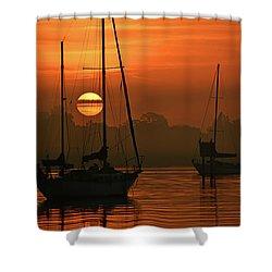 Misty Morning Sunrise Shower Curtain