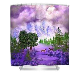 Misty Mountain Deer Shower Curtain