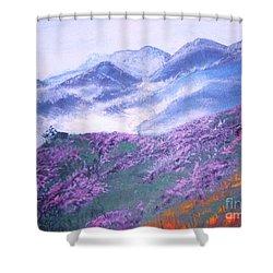 Misty Mountain Hop Shower Curtain by Donna Dixon