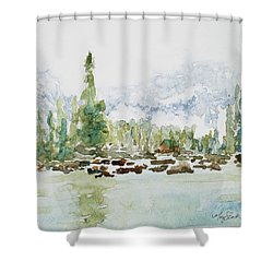 Misty Mountain Lake Shower Curtain by Mary Benke