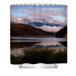Shower Curtain featuring the photograph Misty Mountain Morning by Karen Shackles
