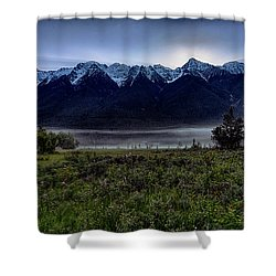Shower Curtain featuring the photograph Misty Mountain Morning Meadow  by Darcy Michaelchuk