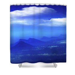 Misty Mountains Of San Salvador Panorama Shower Curtain by Al Bourassa
