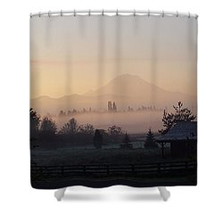Misty Mt. Rainier Sunrise Shower Curtain
