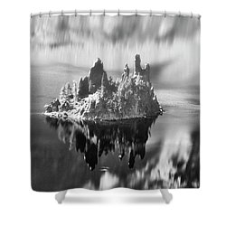 Shower Curtain featuring the photograph Misty Phantom Ship Island Crater Lake B W  by Frank Wilson