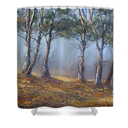 Misty Pines Shower Curtain by Valerie Travers
