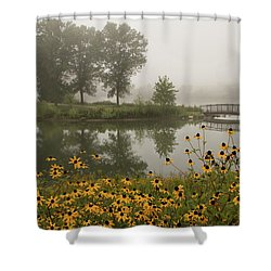 Misty Pond Bridge Reflection #3 Shower Curtain