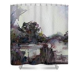 Misty Pond Shower Curtain by Geni Gorani