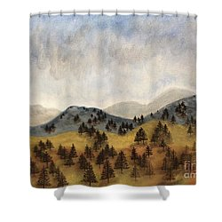 Misty Rain On The Mountain Shower Curtain