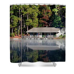 Shower Curtain featuring the photograph Misty Reflection At Durant by George Randy Bass