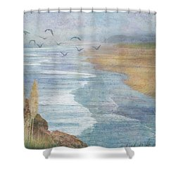 Shower Curtain featuring the digital art Misty Retreat by Christina Lihani