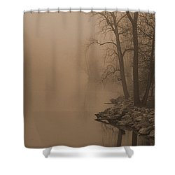 Misty River - Vintage  Shower Curtain