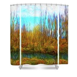 Misty River Vistas - Triptych Shower Curtain