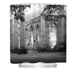 Misty Ruins Shower Curtain by Scott Hansen