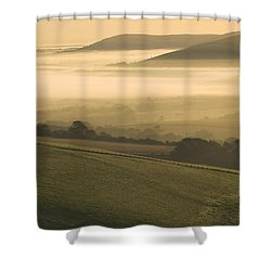 Misty South Downs Shower Curtain by Hazy Apple