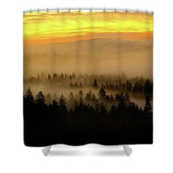 Shower Curtain featuring the photograph Misty Sunrise by Ben Upham III
