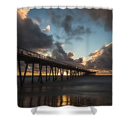 Misty Sunset Shower Curtain by Ed Clark