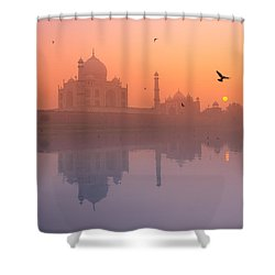 Misty Sunset Shower Curtain by Marji Lang
