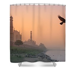 Misty Taj Mahal Shower Curtain by Marji Lang