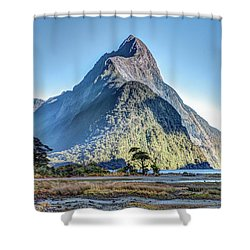 Shower Curtain featuring the photograph Mitre Peak At Low Tide by Gary Eason