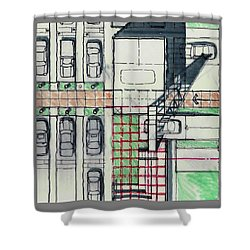 Shower Curtain featuring the drawing Mitsubishi Dealerships by Andrew Drozdowicz