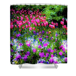 Mixed Flowers And Tulips Shower Curtain
