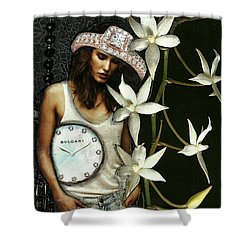 Mixed Media Collage Lost In Thought Shower Curtain by Lisa Noneman