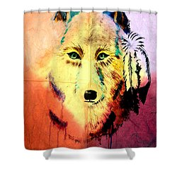 Shower Curtain featuring the painting Mixed Media Painting Of Spirit Of The Wolf 2 By Ayasha Loya by Ayasha Loya