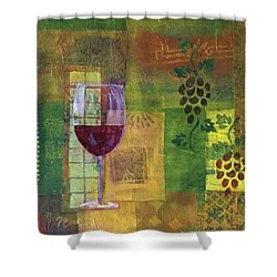 Mixed Media Painting Wine Shower Curtain