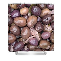 Mixed Olives Shower Curtain by Neil Overy