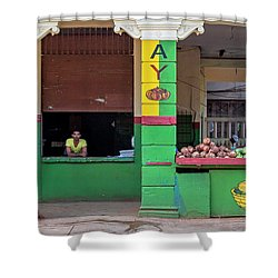 Shower Curtain featuring the photograph Mjay Fruit Stand Havana Cuba by Charles Harden