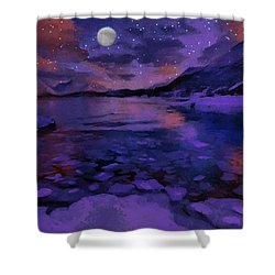 Mnon Over The Frozen Lands Shower Curtain