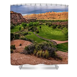 Moab Desert Canyon Golf Course At Sunrise Shower Curtain