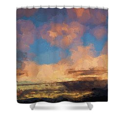 Moab Sunrise Abstract Painterly Shower Curtain