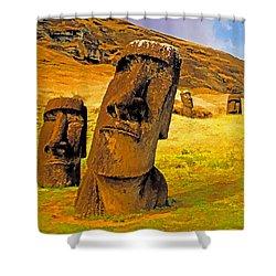 Moai Shower Curtain by Dennis Cox