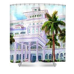 Moana Surfrider Hotel On Waikiki Beach #206 Shower Curtain by Donald k Hall