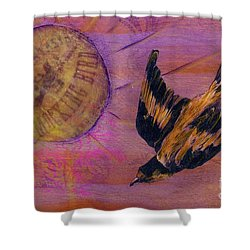 Shower Curtain featuring the mixed media Mockingbird by Desiree Paquette