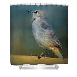 Mockingbird On A Windy Day Shower Curtain