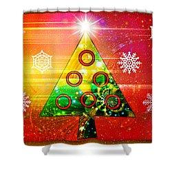 Mod Cards - Christmas Tree Magic Shower Curtain by Aurelio Zucco