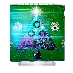 Shower Curtain featuring the photograph Mod Cards - Christmas Tree Magic II by Aurelio Zucco