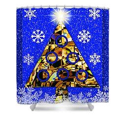 Shower Curtain featuring the digital art Mod Cards - Christmas Tree Magic V by Aurelio Zucco