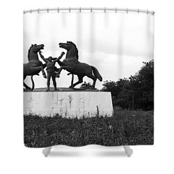 Model And The Monument Shower Curtain by Lorraine Devon Wilke