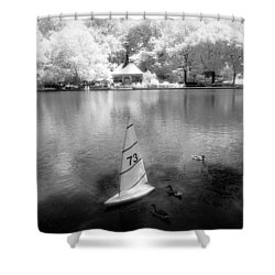 Shower Curtain featuring the photograph Model Boat Lake Central Park by Dave Beckerman