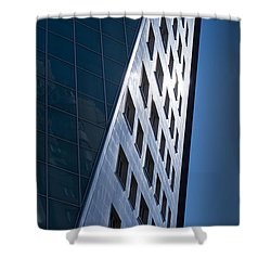 Shower Curtain featuring the photograph Blue Modern Apartment Building by John Williams