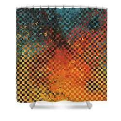 Shower Curtain featuring the painting Modern Art - Pieces 14 - Sharon Cummings by Sharon Cummings