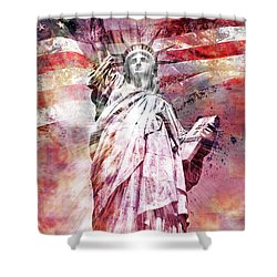 Modern-art Statue Of Liberty - Red Shower Curtain by Melanie Viola